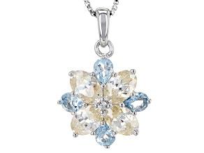 White  Fabulite Strontium Titanate Silver Pendant With Chain 2.77ctw