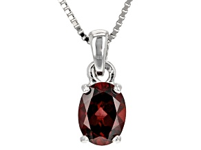 Red Zircon Sterling Silver Pendant With Chain 1.50ct