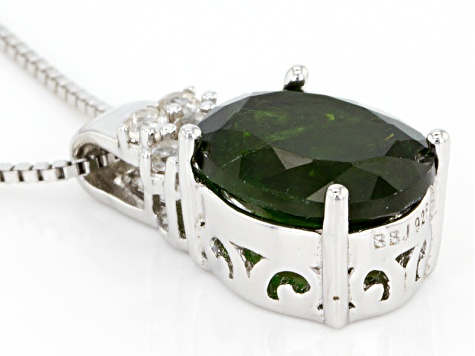 Green Chrome Diopside Sterling Silver Pendant With Chain 3.51ctw