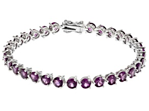Raspberry Color Rhodolite Rhodium Over Sterling Silver Bracelet 13.06ctw