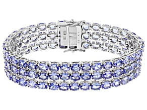 Blue Tanzanite Sterling Silver Bracelet 31.87ctw