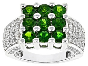 Green Chrome Diopside Sterling Silver Ring 3.26ctw