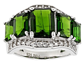 Green Chrome Diopside Sterling Silver Ring 5.43ctw