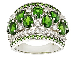Green Chrome Diopside Sterling Silver Ring 4.02ctw