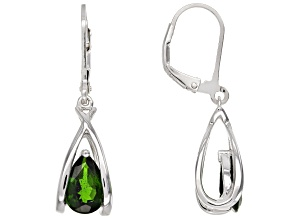 Green chrome diopside sterling silver earrings 2.14ctw