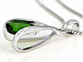 Green chrome diopside silver pendant with chain .88ct