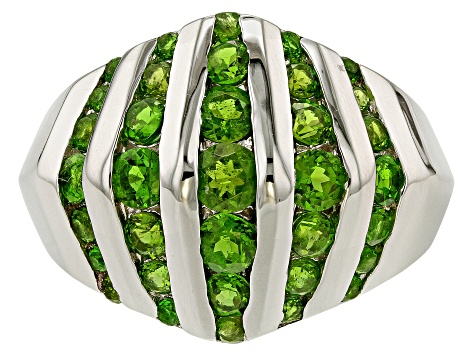 Green Chrome Diopside Sterling Silver Dome Ring 1.51ctw