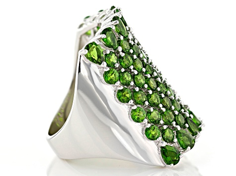 Green Chrome Diopside Sterling Silver band Ring 5.58ctw
