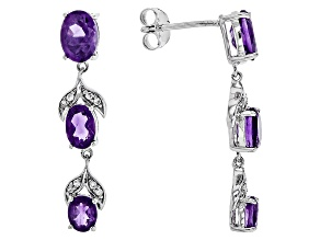 Purple Amethyst Sterling Silver Earrings 2.58ctw