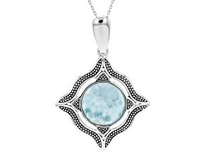 Blue Larimar Silver Enhancer With Chain