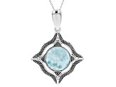 Blue Larimar Silver Enhancer With Chain