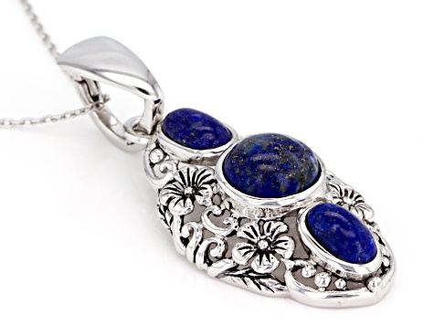 Blue Lapis Lazuli Silver Enhancer With Chain