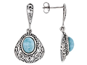 Blue Larimar Silver Earrings