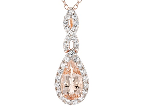 Pink morganite 18k rose gold over sterling silver slide with chain 1.71ctw