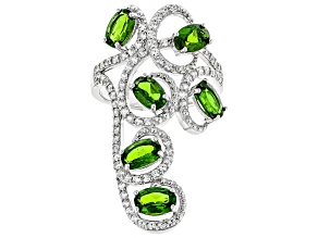Chrome Diopside and White Zircon Sterling Silver Ring 3.37ctw