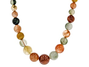 Multicolor Rutilated Quartz Silver Necklace