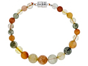 Multicolor Rutilated Quartz silver bracelet
