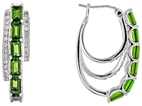 Green Chrome Diopside Sterling Silver Hoop Earrings 4.86ctw