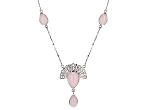 Pink Peruvian Opal Sterling Silver Necklace .44ctw