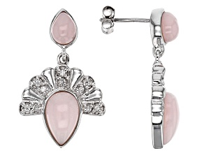 Pink Peruvian Opal Sterling Silver Earrings .24ctw