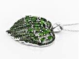 Green Chrome Diopside Silver Pendant With Chain 4.67ctw