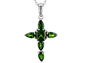 Green Chrome Diopside Sterling Silver Cross Pendant With Chain 1.49ctw