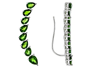 Green Chrome Diopside Sterling Silver Climber Earrings 6.47ctw