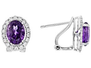 Purple Amethyst Sterling Silver Earrings 2.76ctw