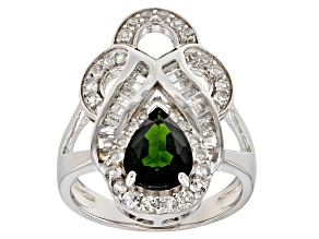 Green Russian chrome diopside sterling silver ring 3.01ctw