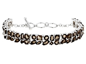 Brown Smoky Quartz Silver Bracelet 11.21ctw