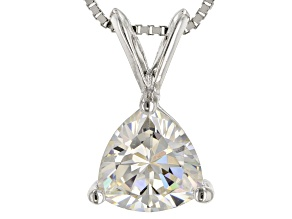 White Fabulite Strontium Titanate rhodium over silver pendant with chain 1.89ct