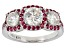 White Fabulite Strontium Titanate And Red Spinel  Rhodium Over Silver Ring 2.74ctw