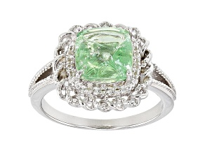 Green Tsavorite rhodium over sterling silver ring 2.34ctw