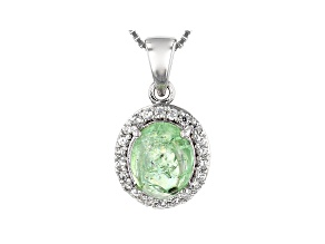 Green tsavorite rhodium over sterling silver pendant with chain 3.40ctw