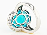 Blue Paraiba Color Chalcedony Silver And 14k Gold Over Silver Ring 9.50ct