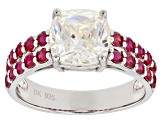 Fabulite Strontium Titanate And Mahaleo(R) Ruby Sterling Silver Ring 4.18ctw