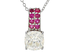 White Fabulite Strontium Titanate And Mahaleo Ruby rhodium over silver pendant 3.71ctw
