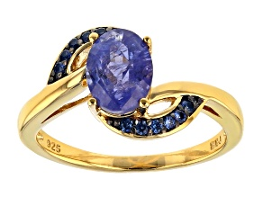 Blue Tanzanite 18k Yellow Gold Over Sterling Silver Ring 1.71ctw