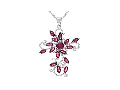 Raspberry Color Rhodolite Sterling Silver Pendant With Chain 4.73ctw