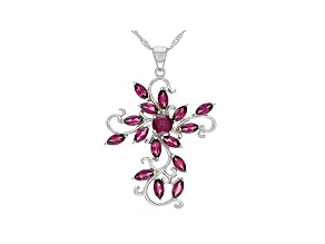 Raspberry Color Rhodolite Rhodium Over Sterling Silver Pendant With Chain 4.73ctw