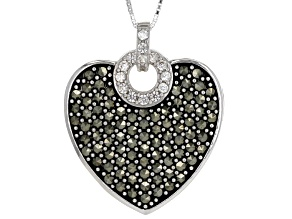Gray Marcasite Sterling Silver Heart Pendant With Chain .16ctw