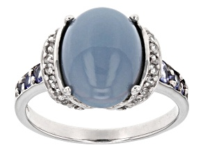 Blue Opal Sterling Silver Ring .36ctw