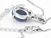 Blue Opal Sterling Silver Pendant With Chain .16ctw