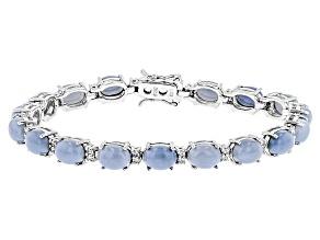 Blue Opal Sterling Silver Bracelet .32ctw