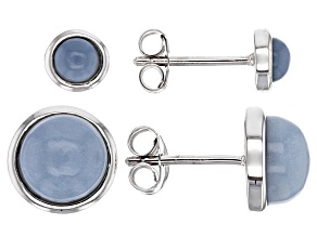 Blue Opal Sterling Silver Earring Set