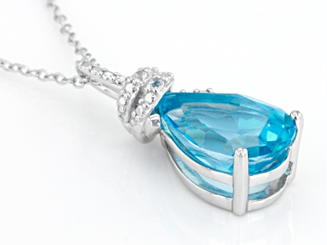 Blue Paraiba™ Topaz Silver Pendant With Chain 3.24ctw
