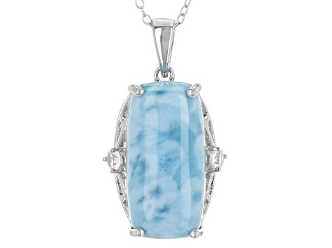 Blue Larimar Sterling Silver Pendant With Chain .14ctw