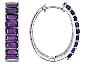 Purple Amethyst Sterling Silver Hoop Earrings 5.65ctw