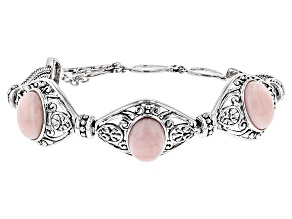 Pink Opal Sterling Silver 3-Stone Bracelet
