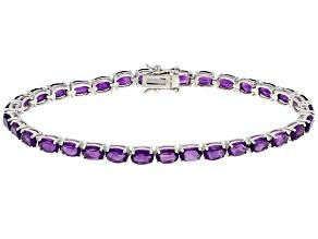 Purple Amethyst Sterling Silver Tennis Bracelet 13.70ctw